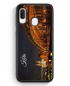 Samsung Galaxy A20e Silikon Hülle - Köln Schriftzug Skyline Foto