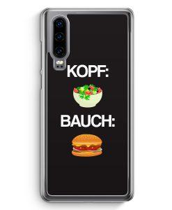 Huawei P30 Hardcase Hülle - Kopf: Salat Bauch: Burger