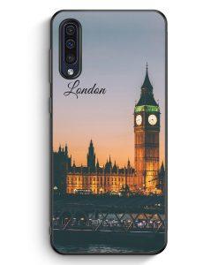 Samsung Galaxy A50 Silikon Hülle - London Big Ben Schriftzug
