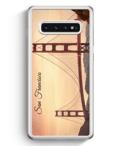 Samsung Galaxy S10+ Plus Hardcase Hülle - San Francisco Schriftzug Golden Gate Bridge