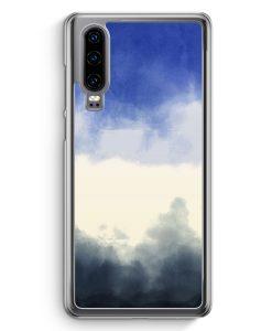 Huawei P30 Hardcase Hülle - Wasserfarben Muster Blau Schwarz
