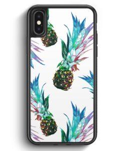 iPhone X & iPhone XS Silikon Hülle - Ananas Tropical Blau Grün