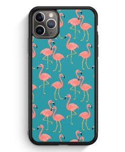 iPhone 11 Pro Max Silikon Hülle - Flamingo Tropical Muster Blau