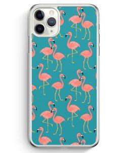 iPhone 11 Pro Hardcase Hülle - Flamingo Tropical Muster Blau