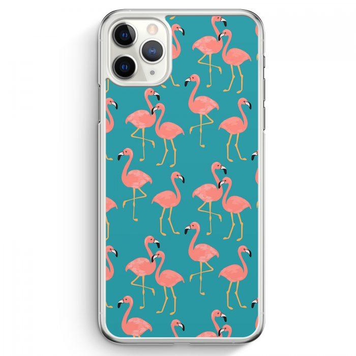 iPhone 11 Pro Max Hardcase Hülle - Flamingo Tropical Muster Blau