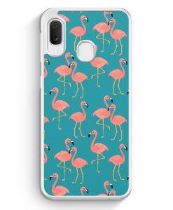 Samsung Galaxy A20e Hardcase Hülle - Flamingo Tropical Muster Blau