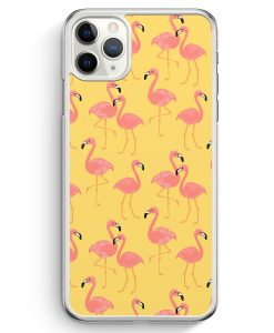 iPhone 11 Pro Max Hardcase Hülle - Flamingo Tropical Muster Rosa