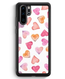 Huawei P30 Pro Silikon Hülle - Herzen Wasserfarben Muster