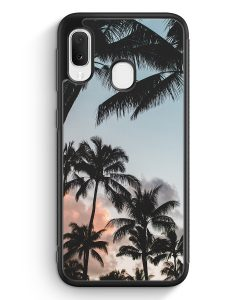 Samsung Galaxy A20e Silikon Hülle - Palmen Landschaft Tropical