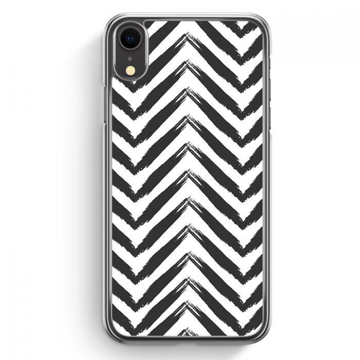 iPhone XR Hardcase Hülle - Zick Zack Muster BK WT