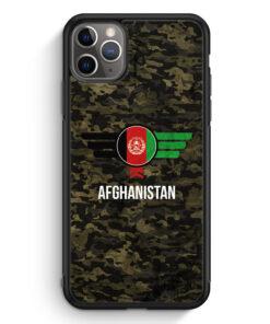 iPhone 11 Pro Max Silikon Hülle - Afghanistan Camouflage mit Schriftzug