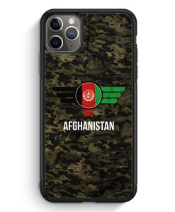 iPhone 11 Pro Max Silikon Hülle - Afghanistan Camouflage mit Schriftzug