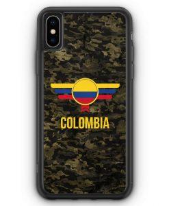 iPhone XS Max Silikon Hülle - Colombia Kolumbien Camouflage mit Schriftzug