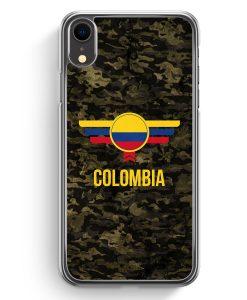 iPhone XR Hardcase Hülle - Colombia Kolumbien Camouflage mit Schriftzug