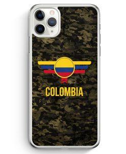 iPhone 11 Pro Hardcase Hülle - Colombia Kolumbien Camouflage mit Schriftzug