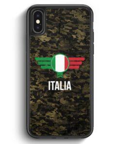 iPhone X & iPhone XS Silikon Hülle - Italia Italien Camouflage mit Schriftzug