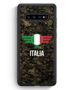 Samsung Galaxy S10 Silikon Hülle - Italia Italien Camouflage mit Schriftzug