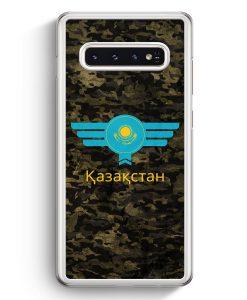 Samsung Galaxy S10+ Plus Hardcase Hülle - Kasachstan Kazakhstan Camouflage mit Schriftzug
