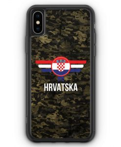 iPhone XS Max Silikon Hülle - Hrvatska Kroatien Camouflage mit Schriftzug