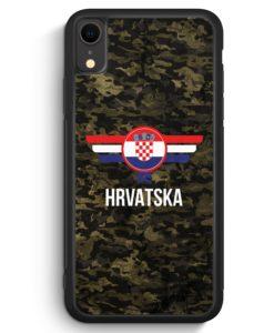 iPhone XR Silikon Hülle - Hrvatska Kroatien Camouflage mit Schriftzug