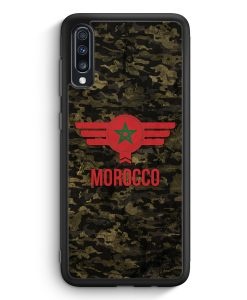 Samsung Galaxy A70 Silikon Hülle - Marokko Morocco Camouflage mit Schriftzug