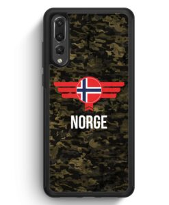 Huawei P20 Pro Hülle Silikon - Norge Norwegen Camouflage mit Schriftzug