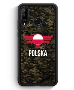 Huawei P30 Lite Silikon Hülle - Polska Polen Camouflage mit Schriftzug