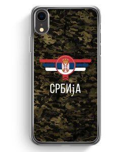 iPhone XR Hardcase Hülle - Srbija Serbien Camouflage mit Schriftzug
