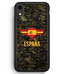 iPhone XR Silikon Hülle - Espana Spanien Camouflage mit Schriftzug