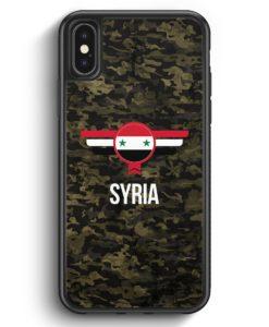 iPhone X & iPhone XS Silikon Hülle - Syrien Syria Camouflage mit Schriftzug