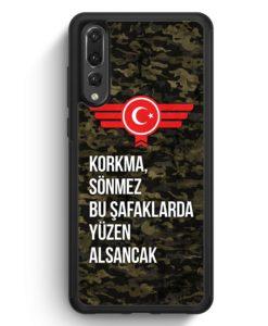 Huawei P20 Pro Hülle Silikon - Korkma Sönmez Türkiye Türkei Camouflage