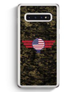 Samsung Galaxy S10+ Plus Hardcase Hülle - USA Amerika Camouflage