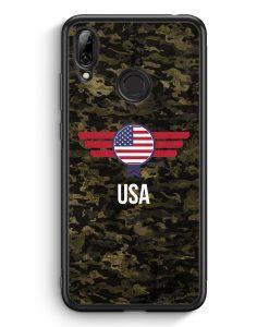 Huawei Y7 (2019) Silikon Hülle - USA Amerika Camouflage mit Schriftzug