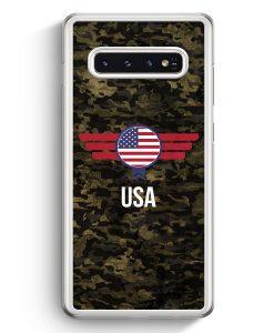 Samsung Galaxy S10+ Plus Hardcase Hülle - USA Amerika Camouflage mit Schriftzug