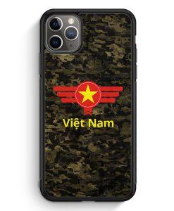 iPhone 11 Pro Max Silikon Hülle - Vietnam Camouflage mit Schriftzug