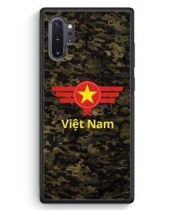 Samsung Galaxy Note 10+ Plus Silikon Hülle - Vietnam Camouflage mit Schriftzug