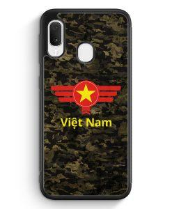 Samsung Galaxy A20e Silikon Hülle - Vietnam Camouflage mit Schriftzug
