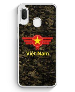 Samsung Galaxy A20e Hardcase Hülle - Vietnam Camouflage mit Schriftzug