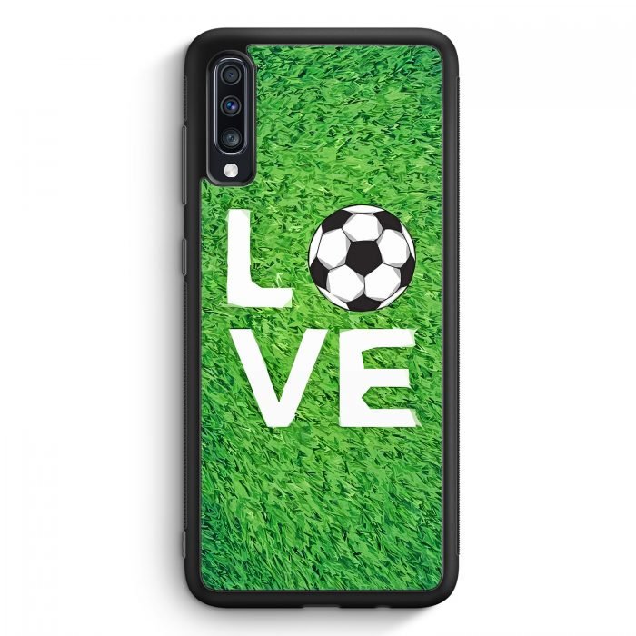 Samsung Galaxy A40 Silikon Hülle - Love Fußball Rasen