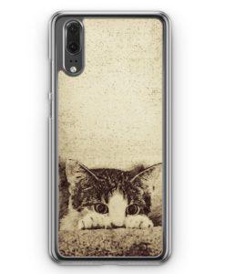 Huawei P20 Hülle Hardcase - Vintage Zeichnung Ängstliche Katze