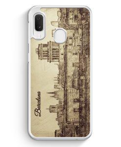 Samsung Galaxy A20e Hardcase Hülle - Vintage Panorama Barcelona