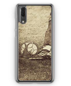 Huawei P20 Hülle Hardcase - Vintage Fußball Schuss