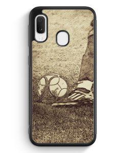 Samsung Galaxy A20e Silikon Hülle - Vintage Fußball Schuss