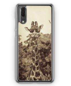 Huawei P20 Hülle Hardcase - Vintage Coole Giraffe