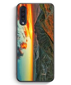 Samsung Galaxy A50 Silikon Hülle - Sonnenuntergang Berge Landschaft