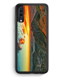 Samsung Galaxy A70 Silikon Hülle - Sonnenuntergang Berge Landschaft