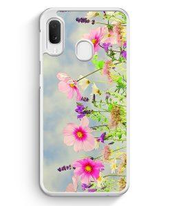 Samsung Galaxy A20e Hardcase Hülle - Blumen Landschaft Rosa