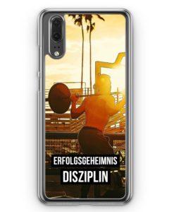 Huawei P20 Hülle Hardcase - Erfolgsgeheimnis Disziplin Bodybuilder