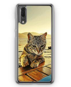 Huawei P20 Hülle Hardcase - Katze am Meer