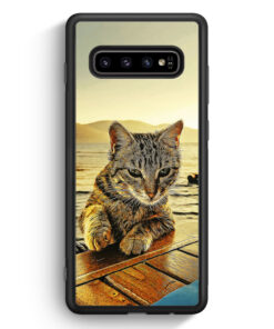 Samsung Galaxy S10 Silikon Hülle - Katze am Meer
